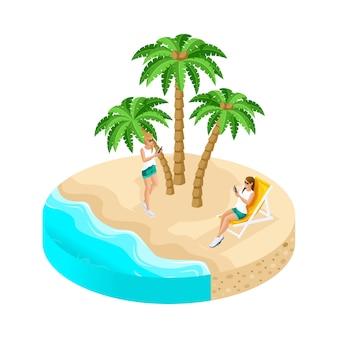 Isla con hermosos paisajes, mar, playa, arena, palmeras, chicas de vacaciones disfrutan de la naturaleza