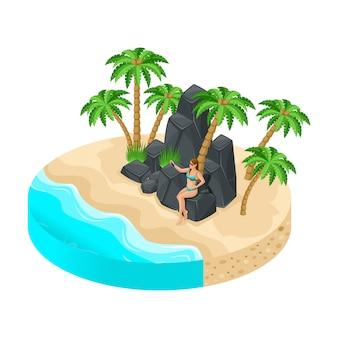 Isla con hermosos paisajes, mar, playa, arena, palmeras, la niña de vacaciones se sienta en rocas de piedra, hace selfies