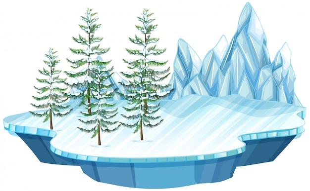 Isla de hielo y nieve flotante