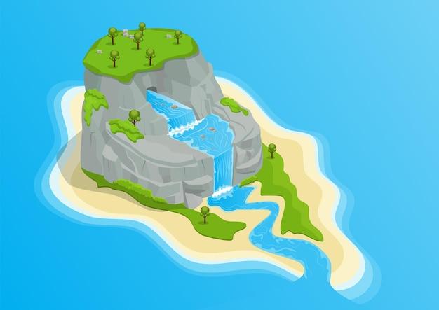 Isla isométrica con cascada, monte rocoso y árboles ilustración