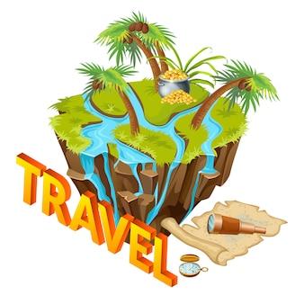 Isla isométrica con elementos de aventura.