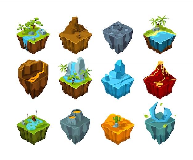 Isla isométrica tierras voladoras con diferentes tipos de texturas, cráter de volcán de luna de cristal, agua preestablecida para juegos