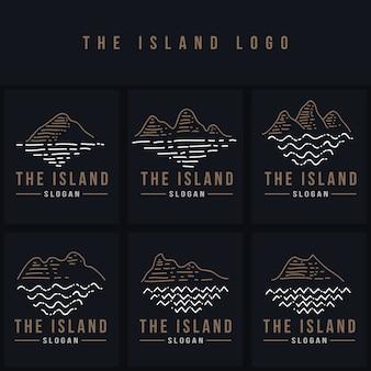 La isla línea logo vector ilustración