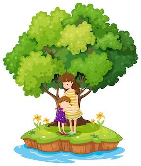 Una isla con una madre y una hija.
