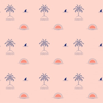 Isla de palmeras tropicales de moda de verano, ola, sol, playa, patrón transparente de aleta tiburón