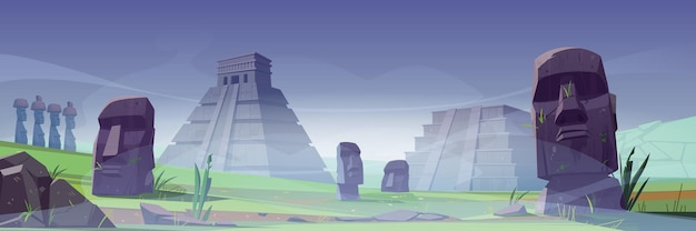 Isla de pascua con antiguas pirámides mayas y estatua moai en la niebla