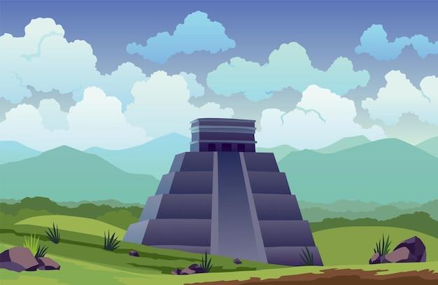 Isla de pascua. viajero en antiguas pirámides mayas o estatuas moai. bandera de ubicación de paisaje de viaje famoso. fondo tropical de turismo y vacaciones.