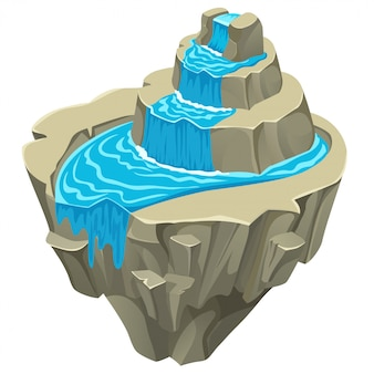 Isla de piedra isométrica.