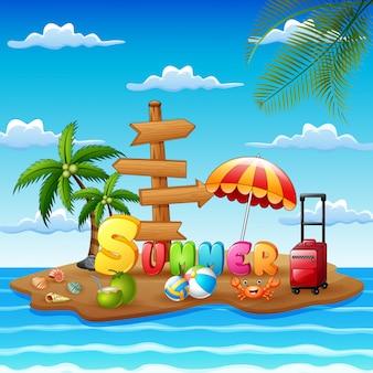Isla de playa con elementos de verano en cielo azul