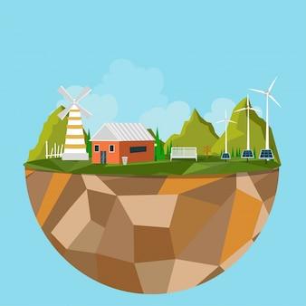 Isla poligonal con vista de la ciudad verde, concepto de ecología.