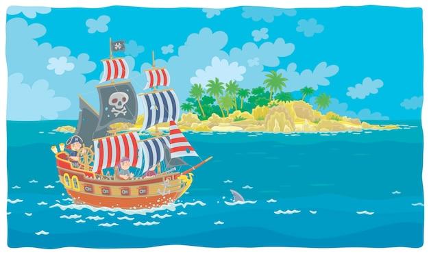 La isla del tesoro y un velero de madera con cañones de filibusteros marinos y un blackjack