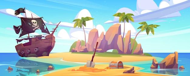 Isla tropical con cofre del tesoro y barco pirata roto paisaje marino de dibujos animados con velero después del naufragio con calavera en velas negras, palmeras y monedas de oro en una isla deshabitada