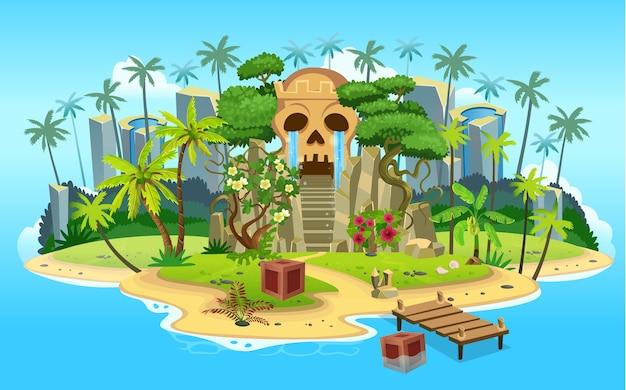 Isla tropical de dibujos animados con cueva de montaña de calavera con escaleras, palmeras. montañas, océano azul, flores y enredaderas.