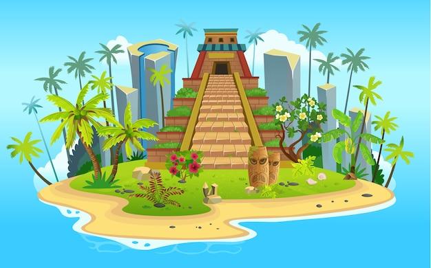 Isla tropical de dibujos animados con pirámide maya, palmeras. montañas, océano azul, flores y enredaderas.
