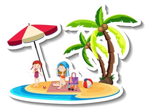 Isla tropical con dos personas y cocotero.