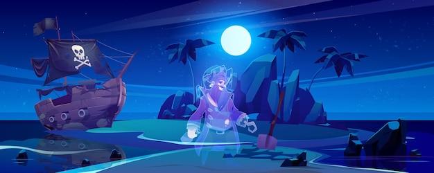 Isla tropical con fantasma de pirata y barco roto en la noche.
