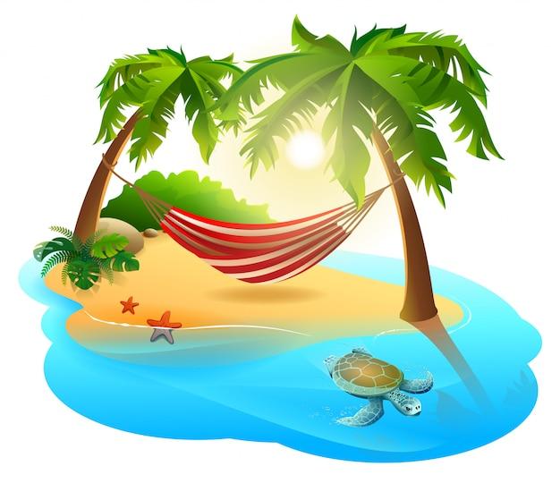 Isla tropical y hamaca entre palmeras