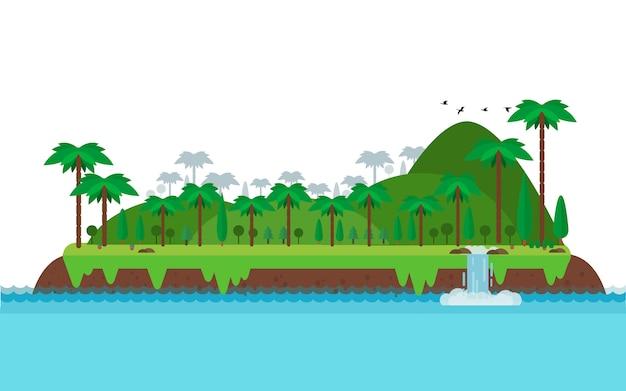 Isla tropical, paisaje y montaña en estilo plano.