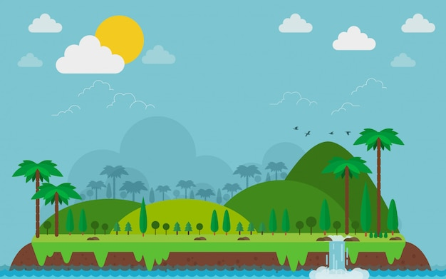 Isla tropical. paisaje y montaña en el estilo plano.
