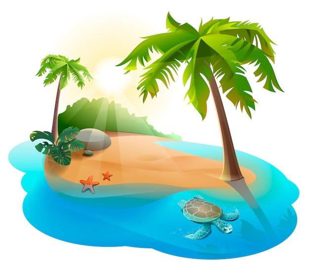 Isla tropical con palmera y tortuga