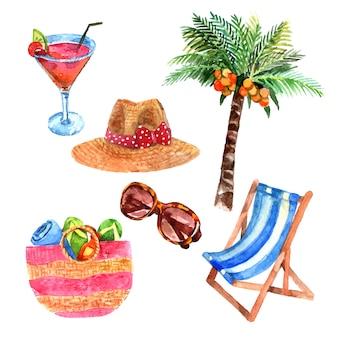 Isla tropical vacaciones viajes acuarela iconos conjunto con palmera de coco y paja sombrero para el sol
