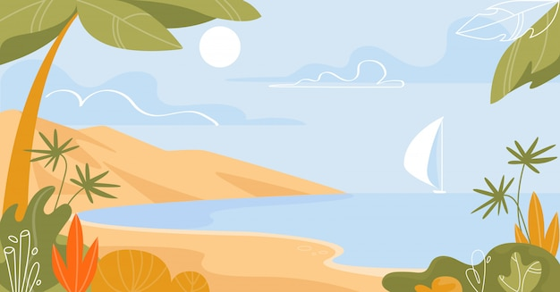 Isla tropical con vista al mar con velero flotante
