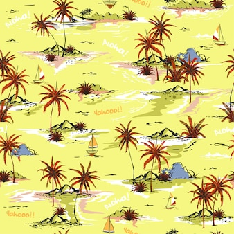 Isla de verano brillante sin patrón de isla