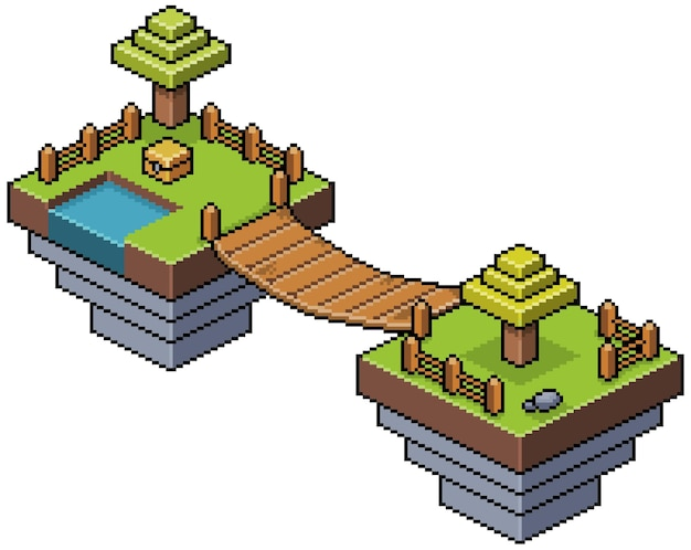 Islas isométricas de pixel art en el cielo con árboles, puente, lago y escenario de juego de bits de valla