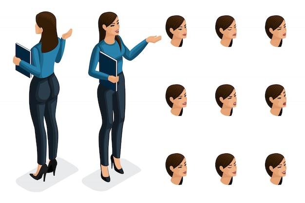 Isometría de calidad, mujer de negocios, en ropa estrictamente elegante. personaje, una niña con un conjunto de emociones para crear ilustraciones de calidad.