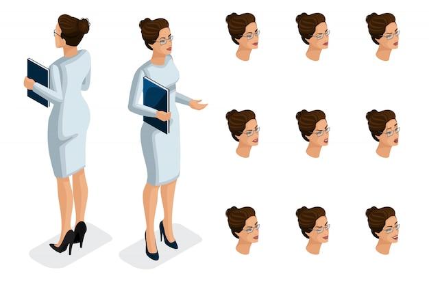 Isometría de calidad, mujer de negocios, con un vestido elegante. personaje, una niña con un conjunto de emociones para crear ilustraciones de calidad.