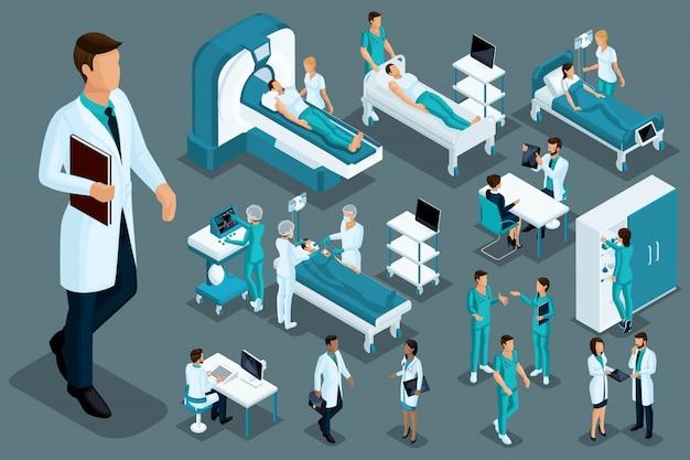 Isometría de calidad, trabajadores médicos y pacientes, cama de hospital, resonancia magnética, escáner de rayos x, escáner de ultrasonido, sillón dental, quirófano