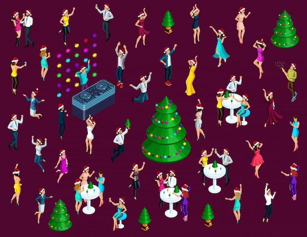 Isometría celebrando la navidad, muchos hombres y mujeres se divierten bailando, saltando