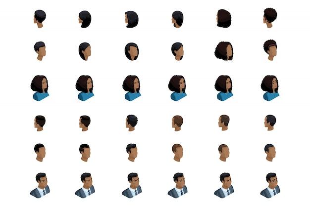 La isometría cualitativa es un estudio detallado de un conjunto de peinados y emociones para personajes en isométrico. hombre y mujer afroamericanos. vista frontal y vista trasera