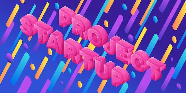 Isometría dinámica brillante con letras volumétricas, proyecto de inicio, ilustración para isométrica