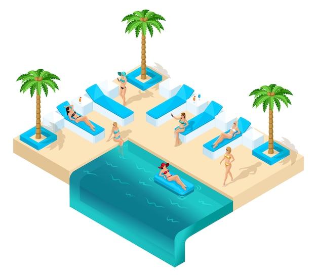 Isometría de la niña de vacaciones, mujeres 3d, despedida de soltera en el complejo hermoso hotel descanso en la sala de estar cerca de la piscina. palmas, arena, mar, hermosos géneros, cócteles.