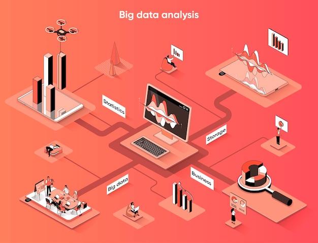 Isometría plana de banner web isométrico de análisis de datos grandes