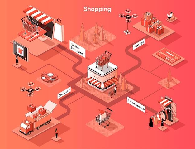 Isometría plana de banner web isométrico de compras y comercio electrónico.