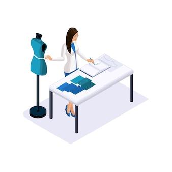 Isometría de un sastre, el diseñador toma medidas, usa un maniquí para crear ropa de alta costura en el estudio, un taller. el emprendedor que trabaja para sí mismo