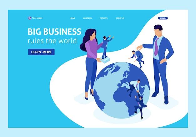Isometric big boss elige personas pequeñas y las coloca en todo el mundo. página de inicio de plantilla de sitio web.
