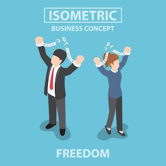 Isometric bsiness gente rompiendo la cadena de metal a la libertad