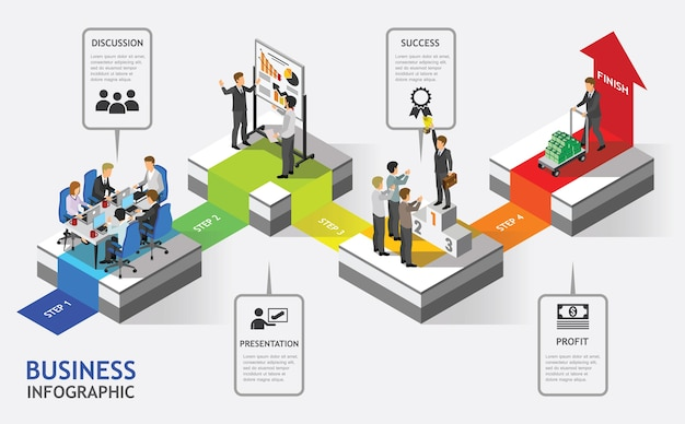 Isometric business people teamwork