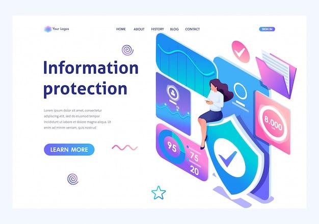 Isometric girl instala una aplicación en línea para proteger los datos en su teléfono.