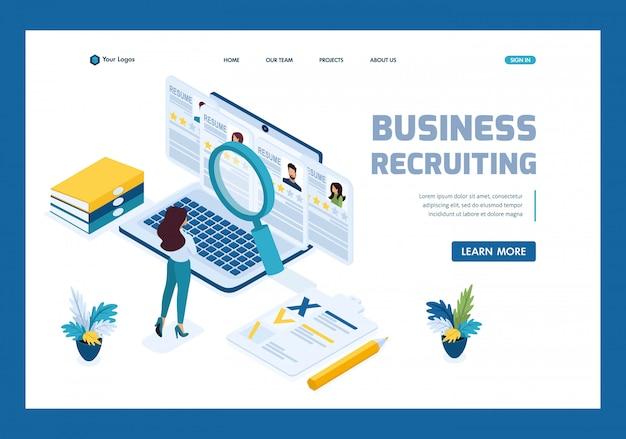 Isometric hr manager, gerente de reclutamiento empresarial revisa las opciones de currículum en la página de inicio del sitio