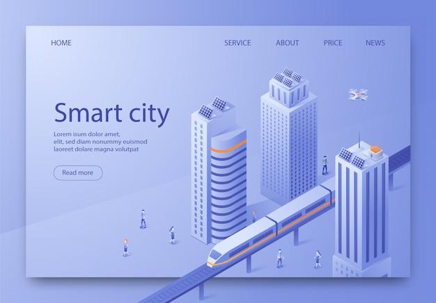 Isometric is written smart city landing page.