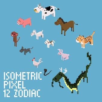 Isometric pixel 12 zodiac