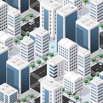 Isométrica 3d calle céntrica arquitectura distrito parte de la ciudad con edificios de carreteras al aire libre.