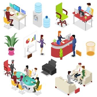 Isométrica 3d establece la vida de la oficina corporativa