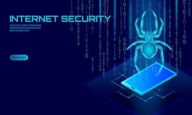 Isométrica 3d hacker araña ataque peligro. concepto de antivirus de seguridad de datos de virus de seguridad web. concepto de negocio de diseño de bloqueo de teléfono inteligente. ilustración de tecnología de error de insecto web de delito cibernético