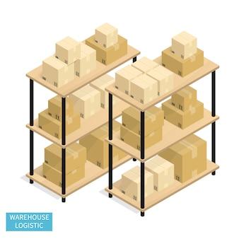 Isométrica almacén logística envío vector de caja de cartón