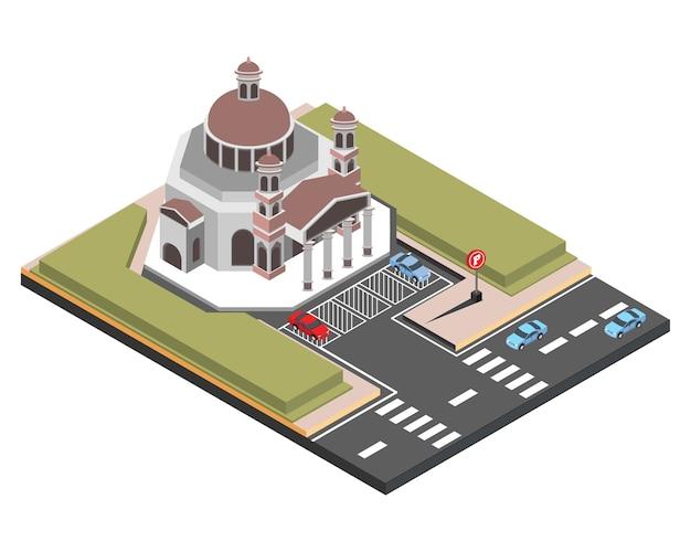 Isométrica antigua iglesia semarang, ilustración vectorial
